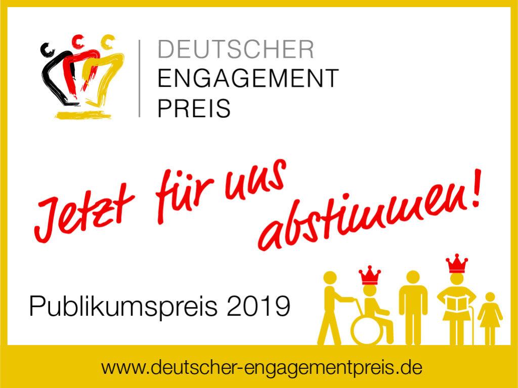 Deutscher Engagementpreis - Jetzt für uns abstimmen! Publikumspreis 2019